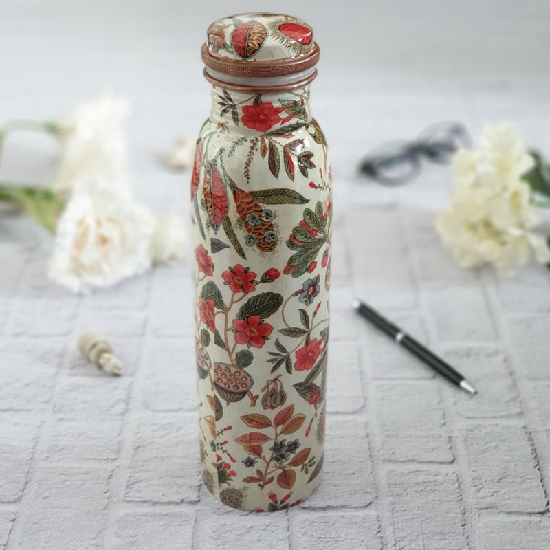 Copper Bottle 950 ml - Earthy Traditional Floral Themed