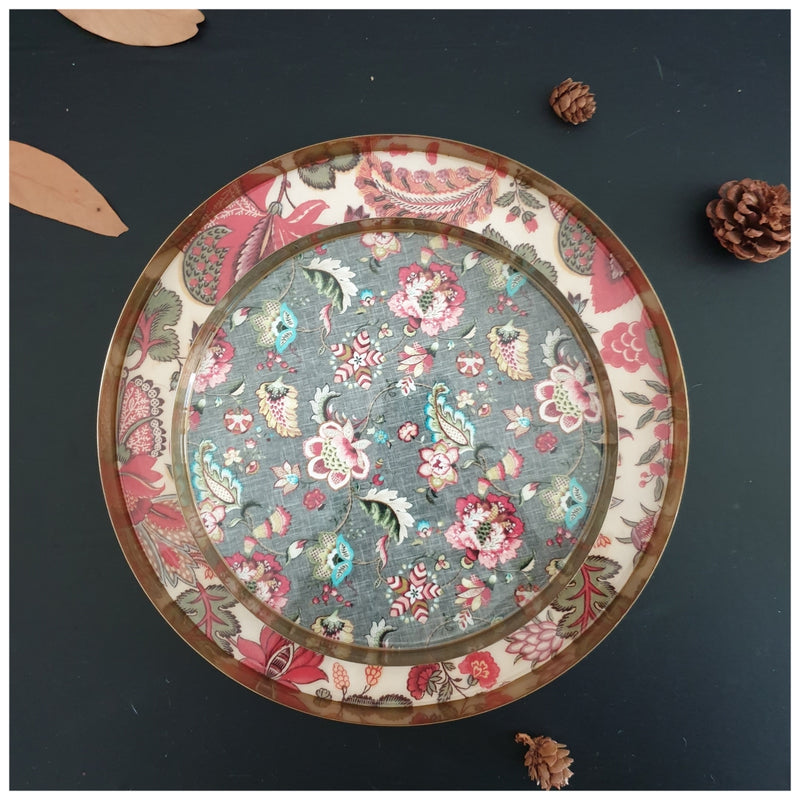 Metal Platter & Tray (Round, Set of 2) - Kalamkari & Olive Green Floral