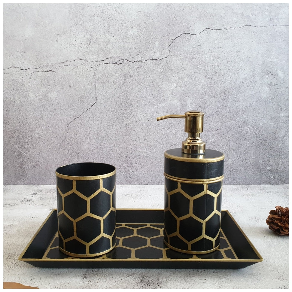 Hand Painted - Bath Accessories (Set of 3) - Ebony Honey Comb