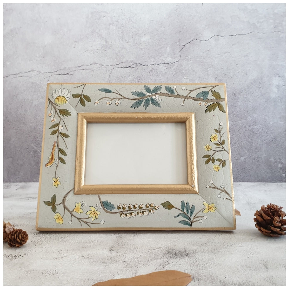Photo Frame - Hand Painted - Grey Blossom