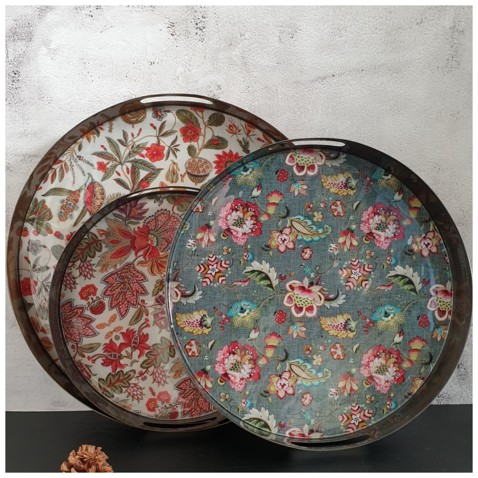 Metal Serving Tray Set of 3, Round - Earthy Floral Collection