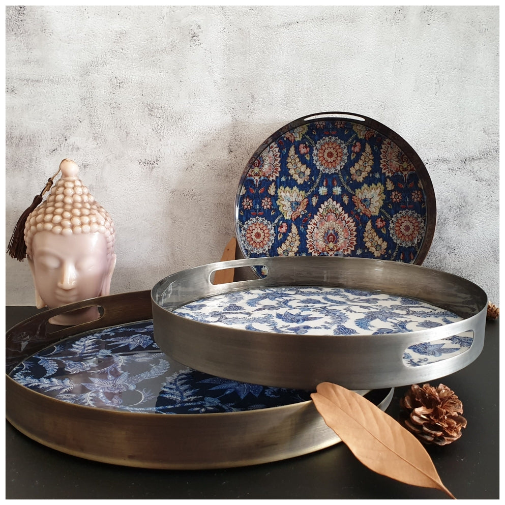 Metal Serving Tray Set of 3, Round - Warrior Blue Collection