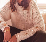 Button Sleeve O-Neck sweater