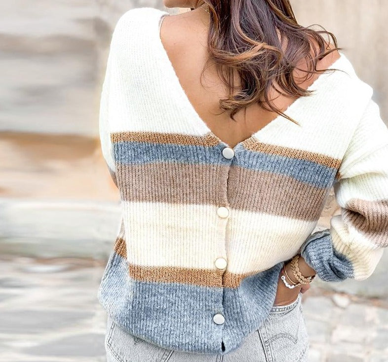 Button Down Striped Knitted Cardigan