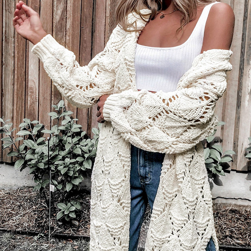 Hollow Out Long Loose Cardigan