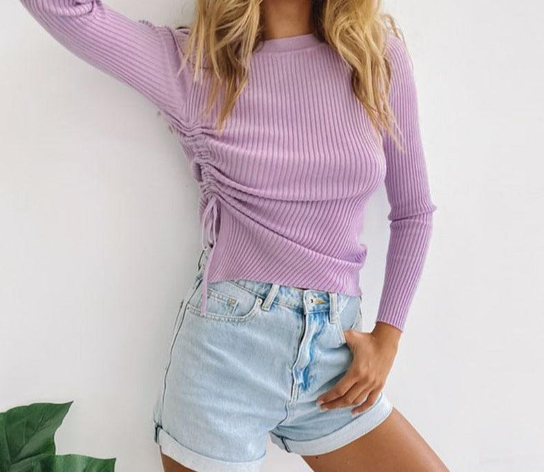 Flexible Knitted Sweater Lace Up Drawstring Crew Neck Top