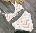 Bohemian Pom-Pom High Waisted Bikini Set