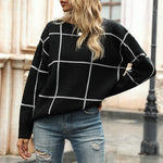 Casual Checkerboard Plaid Pullover Knitted Sweater