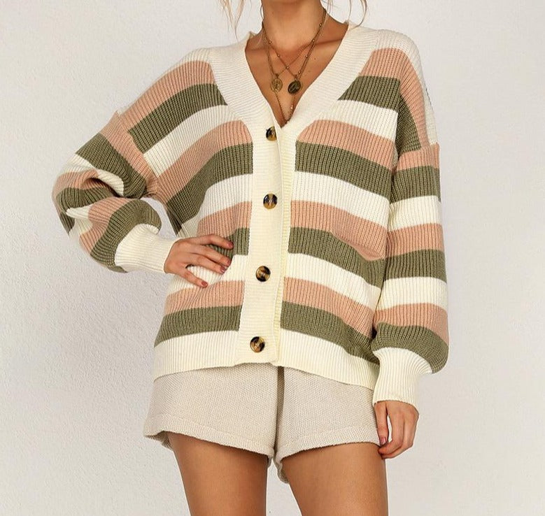 Casual Knitted Stripe Loose Cardigan