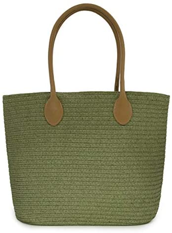 Straw Shoulder Beach Tote Bag
