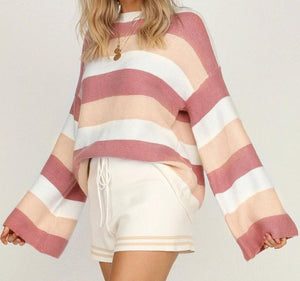 Striped High Collar Jumper