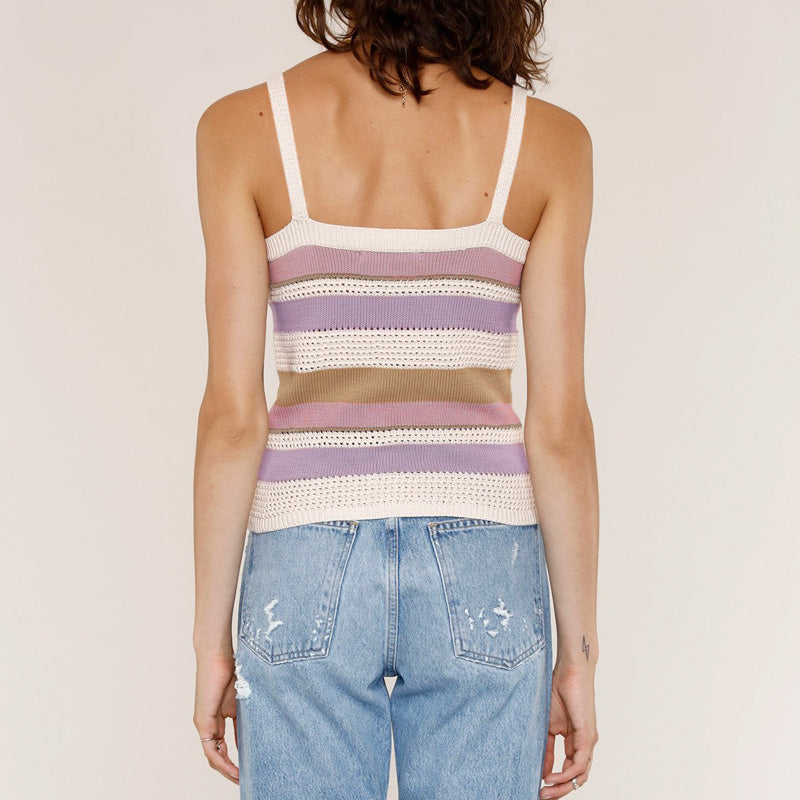 Button-Down Striped Knitted Tank