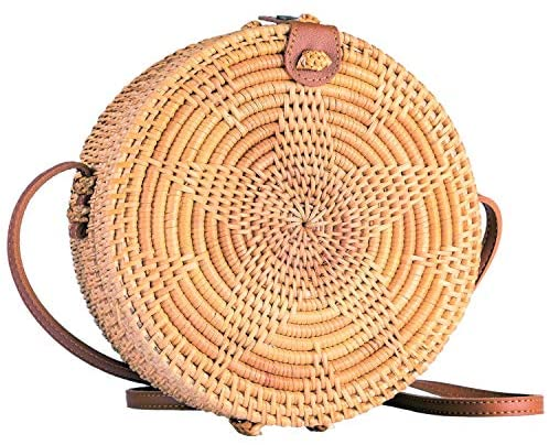 Straw  Rattan Boho Crossbody Bag