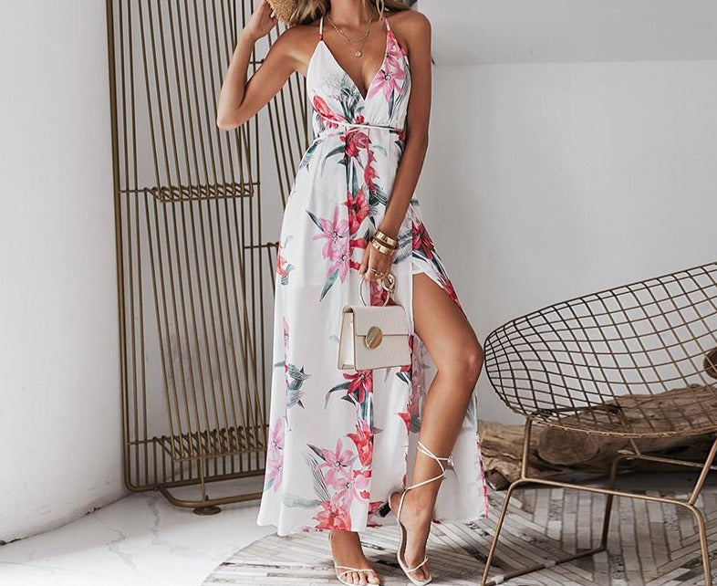 Backless Boho Floral Long Maxi Dress