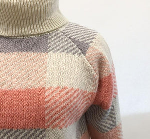 Turtleneck Plaid  Sweater