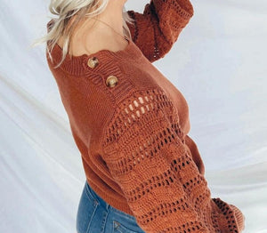 knitted  lantern sleeved pullover sweater