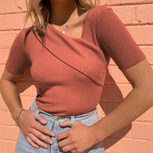 Elegant Brick Autumn Asymmetrical Top