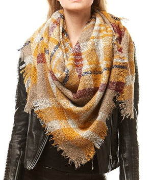 Multi Colored Plaid Oversize Blanket Scarf