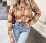 Geometric plaid sweater