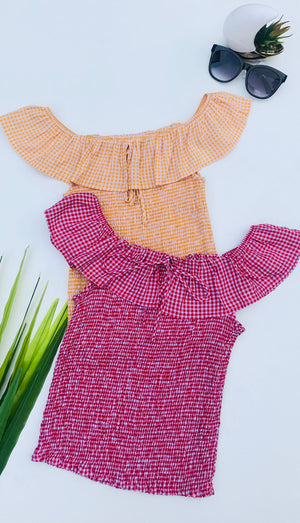 Gingham Frilled Off The shoulder Top