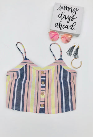 Sunset Striped Button-Down Tank