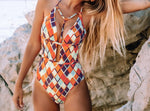 Geometric Print Deep V-neck Halter One-Piece Swimsuit