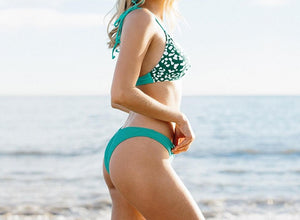 Teal with Print Bikini Set