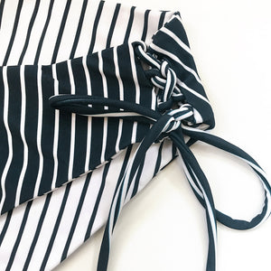 Navy And White Stripe Strappy Bikini Set