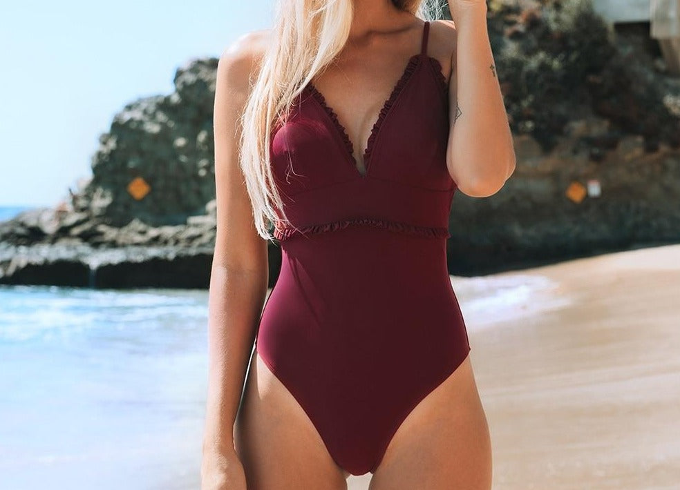 Solid Red Ruffled One-Piece Swimsuit
