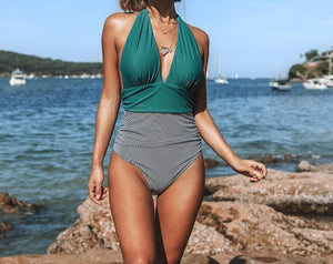 Halter Deep V-neck One-Piece Swimsuit