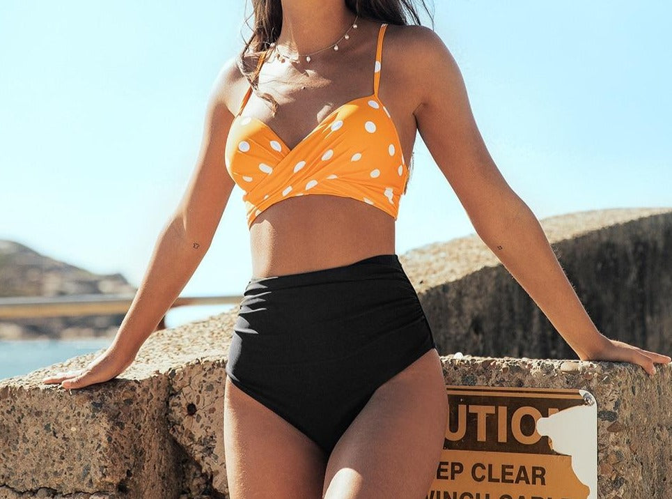 Polka-Dot Push Up High Waisted Bikini Set