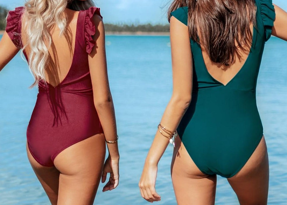 Solid Teal V-neck Backless One-Piece Swimsuit