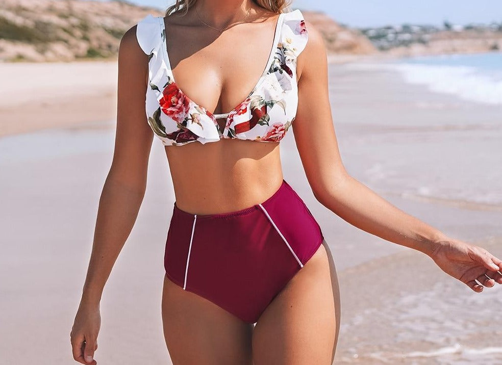 Floral and Red High-waisted Bikini Set