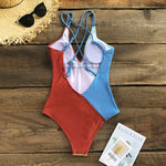 Colorblock V-Neck Open Back One-Piece Swimsuit