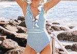 Blue And White Stripe Ruffled V-Neck Swimsuit
