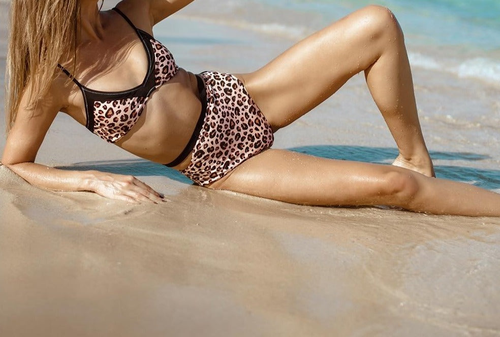 Leopard Print High-waisted Cut Out Bikini Set