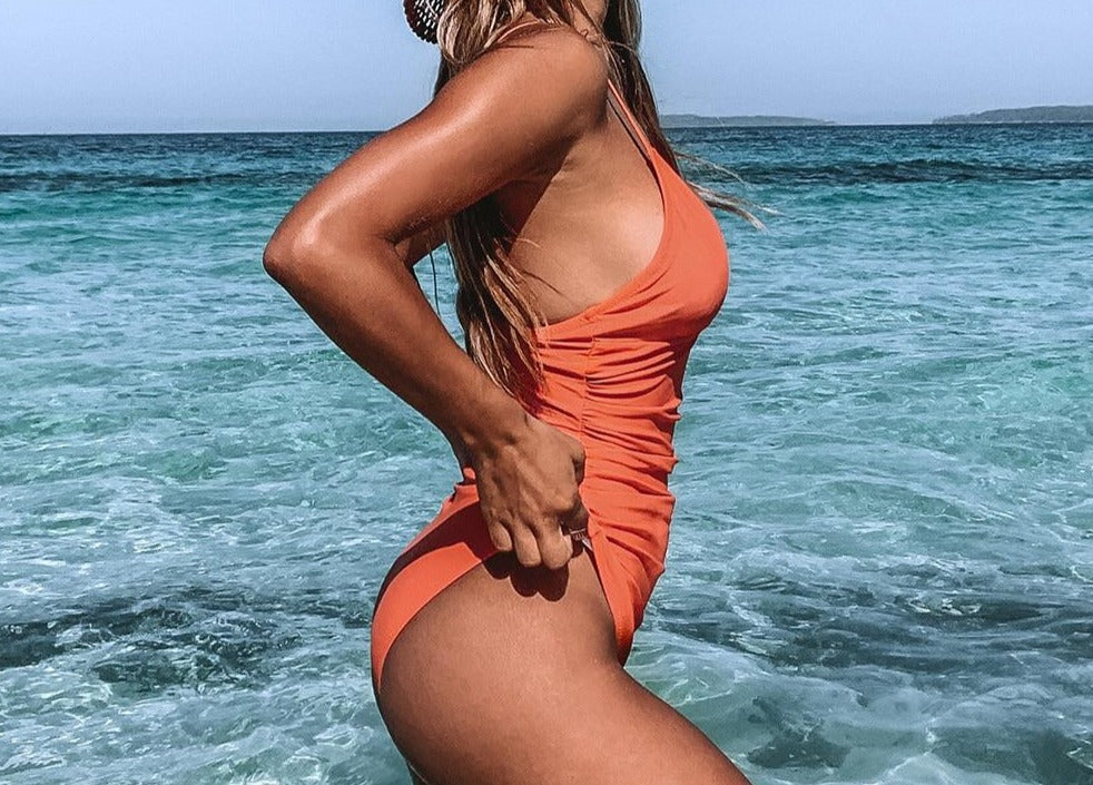 Solid Orange Shirring V-neck One-Piece Swimsuit