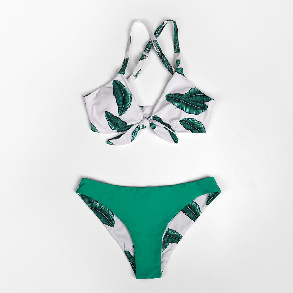 Green Leaf Print Bowknot Bikini Set