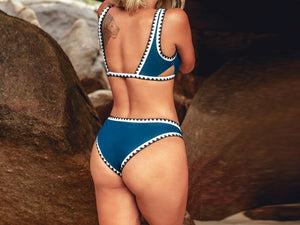 Sporty Blue and Black Crochet Bikini Set