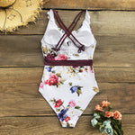 White Floral Ruffled V-neck One-Piece Swimsuit