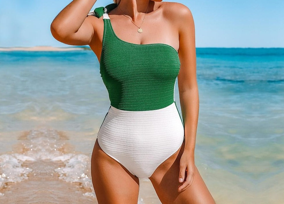 Colorblock One Shoulder One-Piece Swimsuit