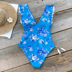 Blue Floral One Piece Swimsuit