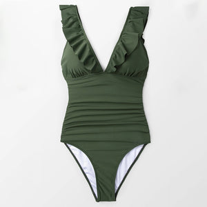 Solid Green Ruffled V-neck One-Piece Swimsuit