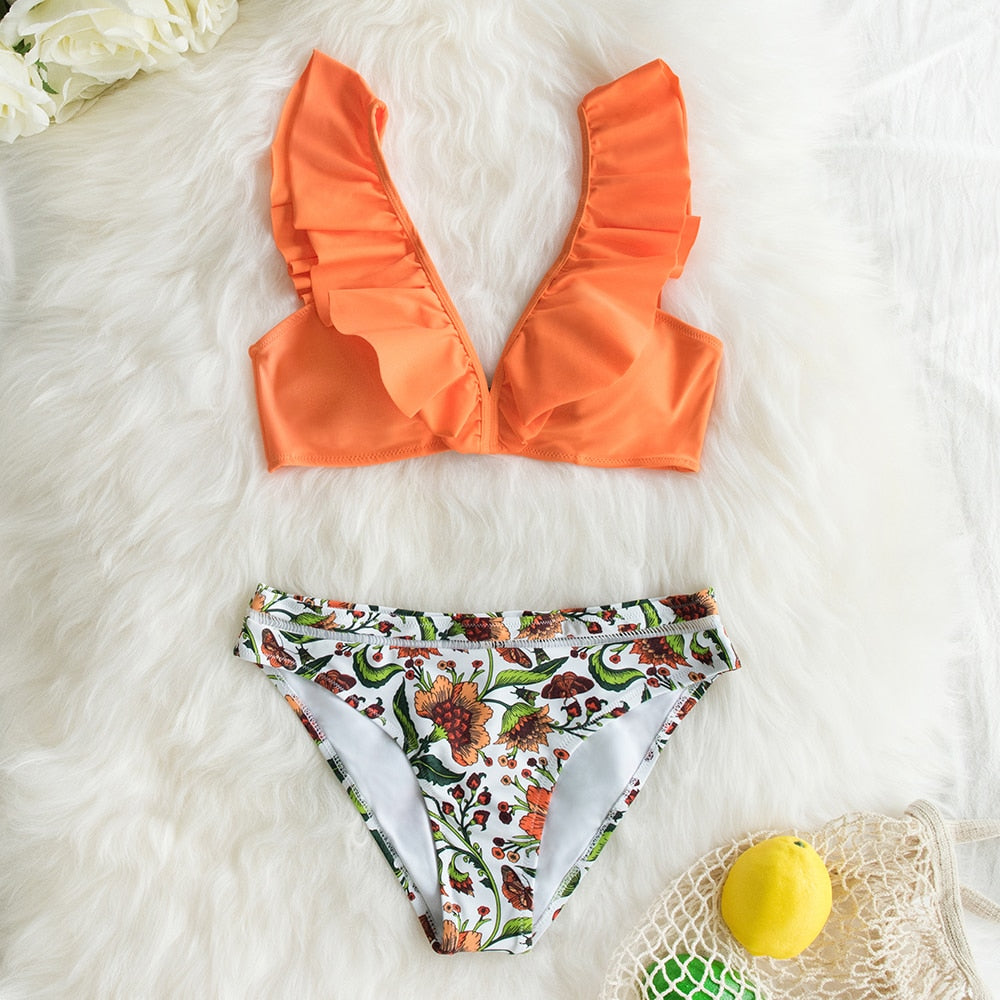 Orange Floral Ruffled Bikini Set