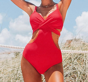 Push Up Cut Out Sexy One Piece Swimsuit