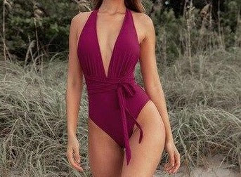 Solid Red Deep V-neck One-Piece Swimsuit