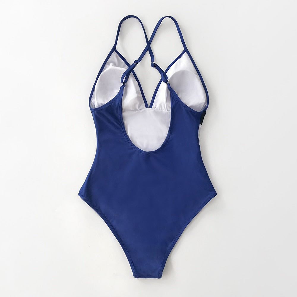 Blue White Black Colorblock V-neck One-Piece Swimsuit