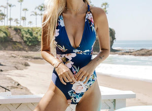 V-neck Floral One Piece Swimsuit