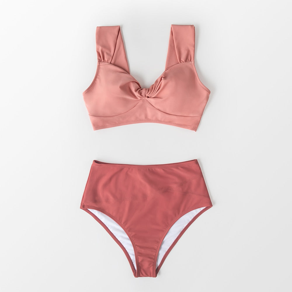 Tank Top High Waisted Bikini Set