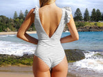 Stripe Bow-knot One Piece Swimsuit
